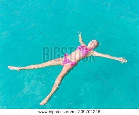 Blonde Woman Carefree Bathing