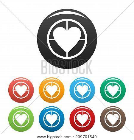 Gunpoint heart icons set. Vector simple illustration of gunpoint heart icons isolated on white background