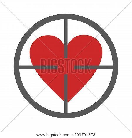 Gunpoint heart icon. Vector simple illustration of gunpoint heart icon isolated on white background
