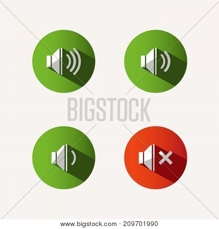 Sound icons with shade on colored circles and white background. Vector illustration
