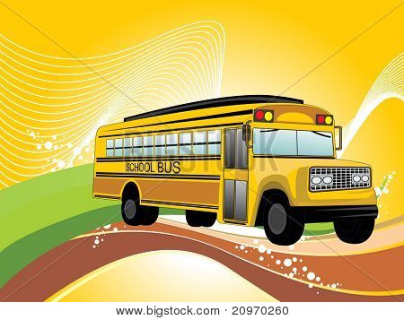 abstract wavy, colorful stripes background with school bus