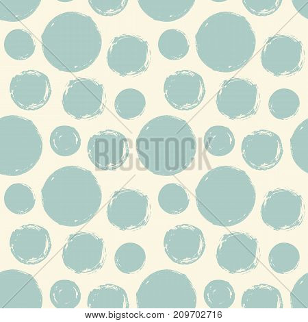 Seamless pattern with hand painted ink circles. Graphic design element for poster, stationary, fabric, scrapbook, baby shower card, wedding invitation. Grunge brush stroke texture. Vector illustration