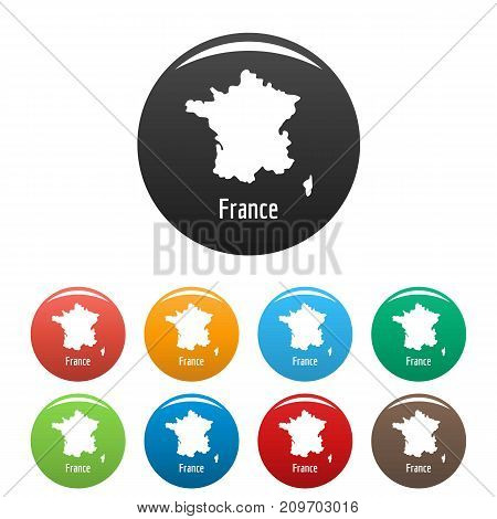 France map in black set. Simple illustration of France map vector isolated on white background