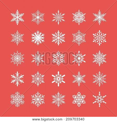 Cute snowflakes collection isolated on red background. Flat snow icons, snow flakes silhouette. Nice element for christmas banner, cards. New year ornament. Organic and geometric snowflake set.