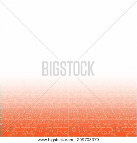 Perspective Orange Puzzles Pieces - Vector Illustration. Jigsaw Puzzle Blank Template. Vector Background.