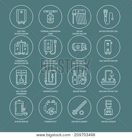 Water heater, boiler, thermostat, electric, gas, solar heaters and other house heating equipment line icons. Thin linear pictogram with editable strokes for hardware store. Household appliances signs.