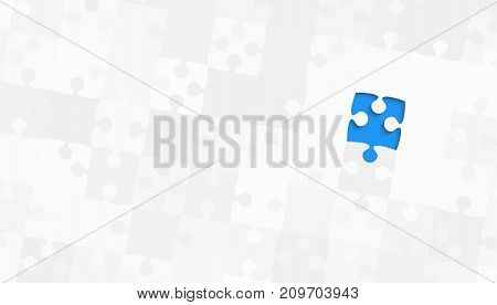 One Blue Puzzle Piece on a Grey Puzzles Rectangle - Vector Illustration. Scattered Jigsaw Puzzle Blank Template. Vector Background.