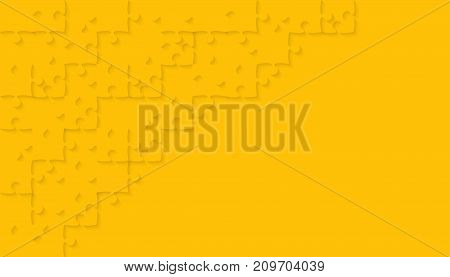 Yellow Puzzle Pieces Arranged in a Rectangle - JigSaw - Vector Illustration. Jigsaw Puzzle. Abstract Vector Background.