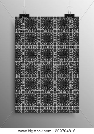 Vertical Poster Banner A4 Sized Vector Paper Clips. Black Puzzle Pieces Arranged in a Square - Vector Illustration. Jigsaw Puzzle Blank Template or Cutting Guideline. Vector Background.