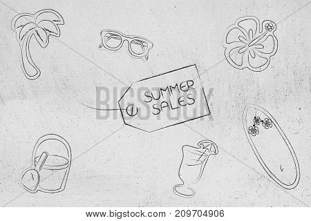 Summer Sale Price Tag Surrounded By Holiday And Beach-related Items