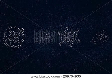 Summer And Winter Sale Price Tags With Tropical Flower And Snowflakes