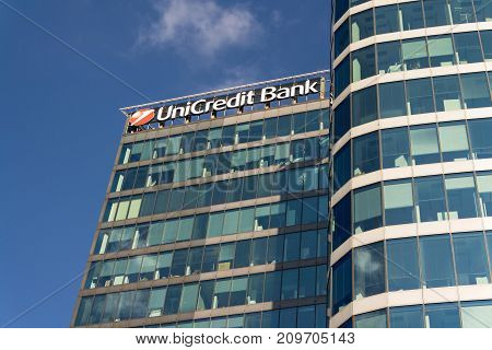 Prague, Czech Republic - October 14: Unicredit Group Banking Company Logo On Branch Building On Octo