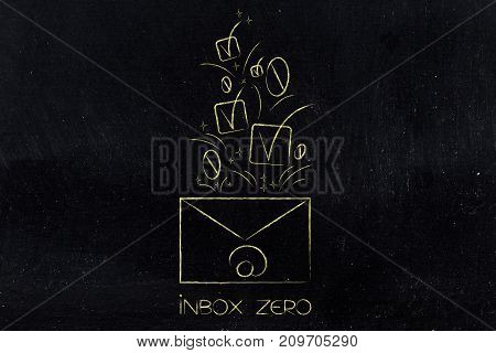 Email Envelope With Ticks And Number Zeros Coming Out Of It