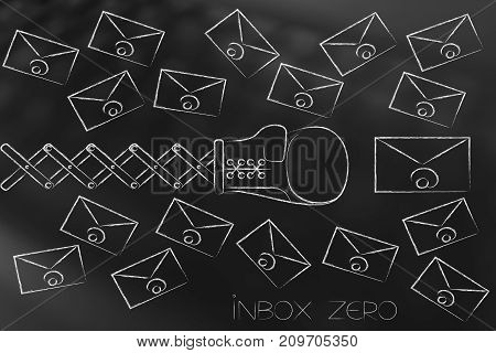 Boxing Glove Punching A Multitude Of Email Envelopes