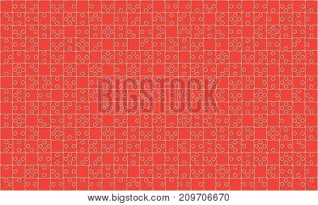 375 Red Material Design Puzzles Pieces - Vector Illustration. Jigsaw Puzzle Blank Template or Cutting Guidelines. Vector Background.