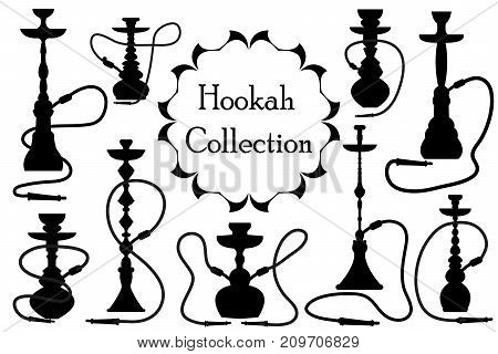 Hookah icon set black silhouette, outline style. Arabic hookahs collection of design elements, logo. Isolated on white background. Lounge bar logos concept. Vector illustration