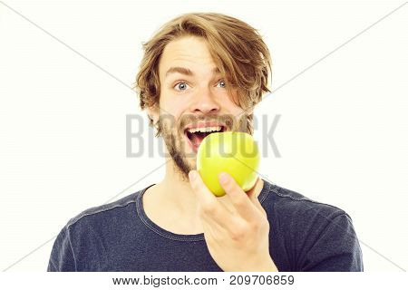 Man With Happy Smiling Face Expression Holds Juicy Green Apple