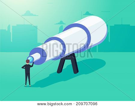 Vision concept in business with vector icon of businessman and telescope, monocular. See the big picture. Symbol leadership, strategy, mission, objectives. Eps10 vector illustration.