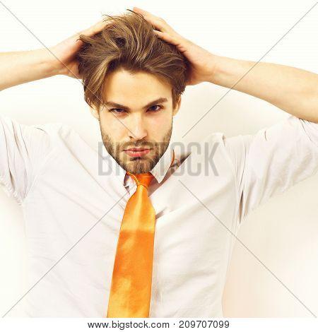 Caucasian Macho In Acid Orange Tie