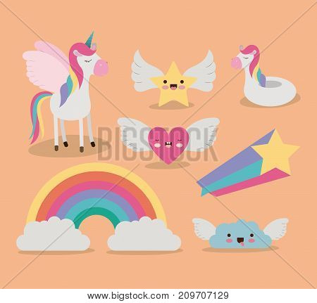 cute set fantasy elements unicorn rainbow cloud star heart with wings in color background vector illustration