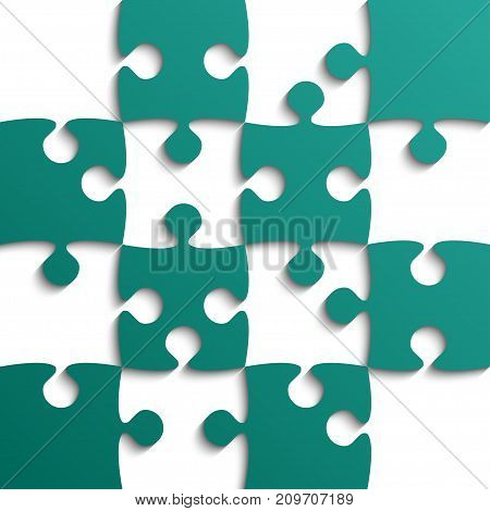 Teal Puzzle Pieces - JigSaw - Vector Illustration. Jigsaw Puzzle. Vector Background. Field for Chess.