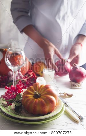a beautiful festive table setting. Holidays, Thanksgiving Day