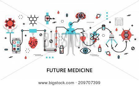 Modern flat thin line design vector illustration concept of future medicine for graphic and web design