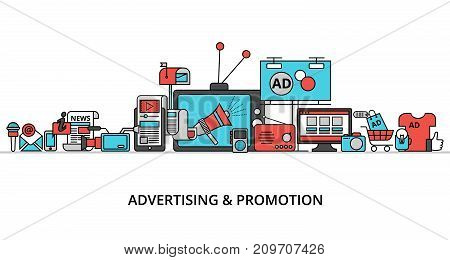 Modern flat thin line design vector illustration concept of advertising marketing and promotion process for graphic and web design