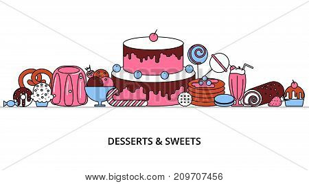 Modern flat thin line design vector illustration concept of sweet desserts cake and chocolate for graphic and web design