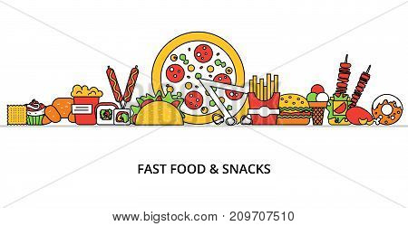 Modern flat thin line design vector illustration concept of unhealthy fast food and snacks for graphic and web design
