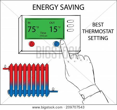 Energy saving best thermostat setting. Hand pressing button on digital thermostat. Drawing illustration.