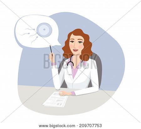 Fertility treatment - Female gynecologist doctor talking about IVF