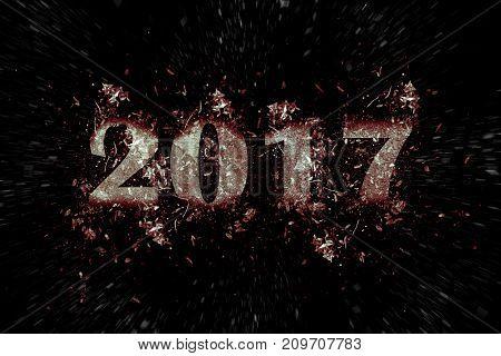 exploding inscription 2017 on a black background