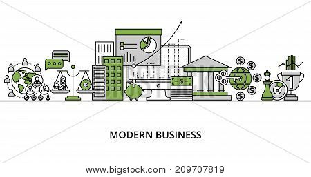 Modern flat line design vector illustration concept of modern business process and finance success in greenery color for graphic and web design