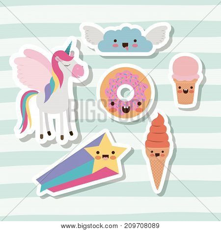 cute set fantasy elements unicorn cloud with wings star and donut and ice cream cone with lines colorful background vector illustration