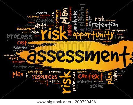 Assessment word cloud collage , business concept