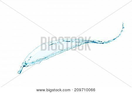 blue water splash isolated on white background.