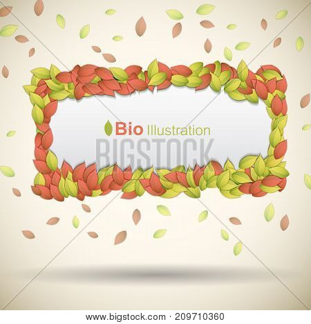 Nature abstract eco background with colorful leaves frame flat vector illustration