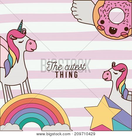 the cutest thing poster with unicorns rainbows stars and donut with wings and colorful lines background vector illustration