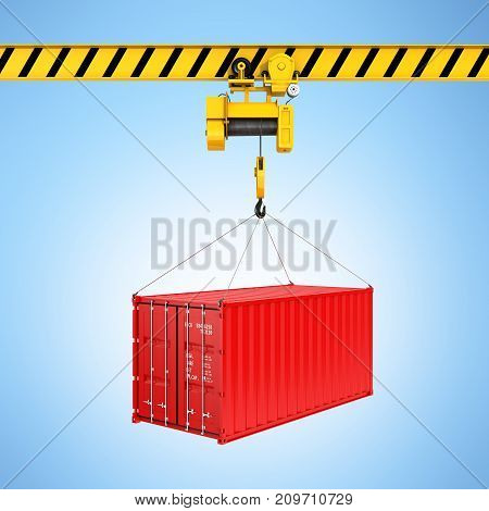 Cargo Shipping Container Loading Concept The Crane Lifts The Container On Blue Gradient Background 3
