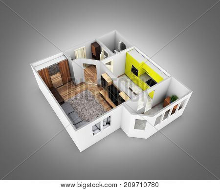 Interior Apartment Roofless Perspective View Apartment Layout Without Shadow On Grey Gradient Backgr