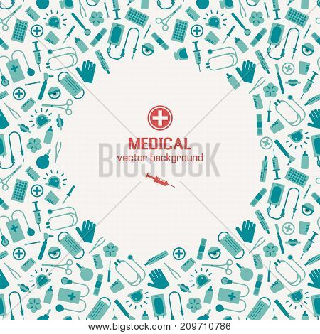 Blue and white background with different medical instruments and red cross and syring in middle flat vector illustration