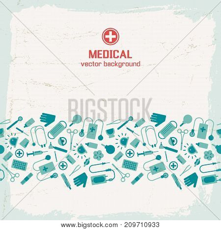 Textured background with blue medical instruments flat vector illustration