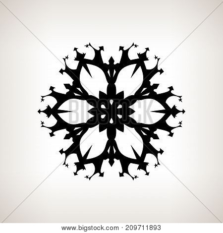 Black Snowflake on a Light Background Merry Christmas and Happy New Year Christmas Decoration Drawing in Linear Style Black and White Illustration