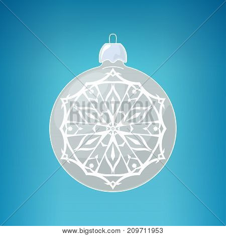 Silver Ball with Snowflake Christmas Ball on a Blue Background Christmas Tree Decoration Merry Christmas and Happy New Year