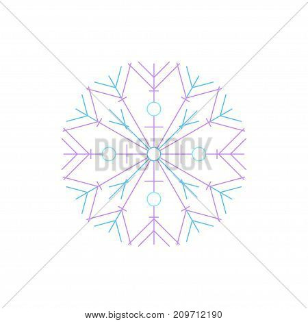 Snowflake Isolated on White Background Merry Christmas and Happy New Year Christmas Decoration Line
