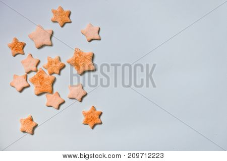 homemade star cookies on a blue background