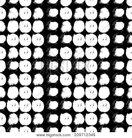 Vector seamless pattern with circles brush strokes. Black and white doodle. Grungy background. Abstract hand drawn polka dot design