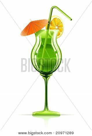 tropical cocktail in glass vector illustration isolated on white background poster