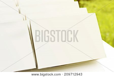 Blank paper package white box for food products on the white table background.